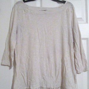 Lucky Brand Ivory 3/4 Sleeve Fringe Lace Top XL